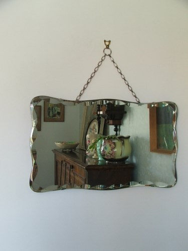 Vintage or retro frameless wall mirror