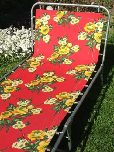 Vintage Floral Folding Sunlounger