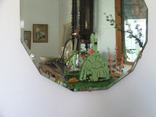 Vintage Painted Crinoline Lady Mirror
