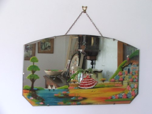 Vintage Painted Crinoline Lady Wall Mirror