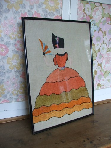 Vintage Framed Crinoline Lady Embroidery