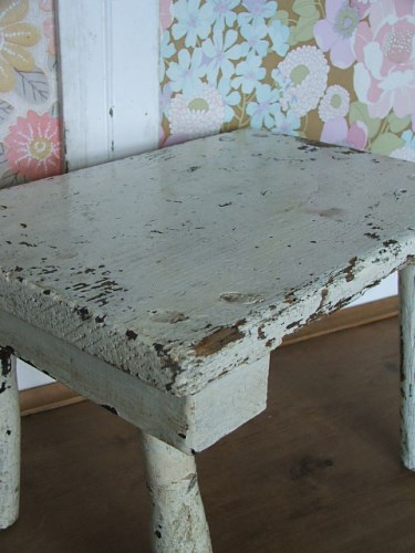 White Painted Wooden Stool