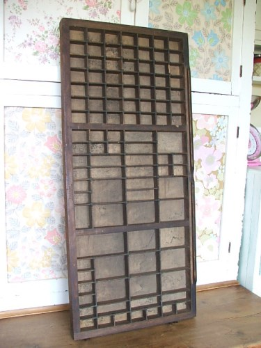 Old vintage wooden printers tray