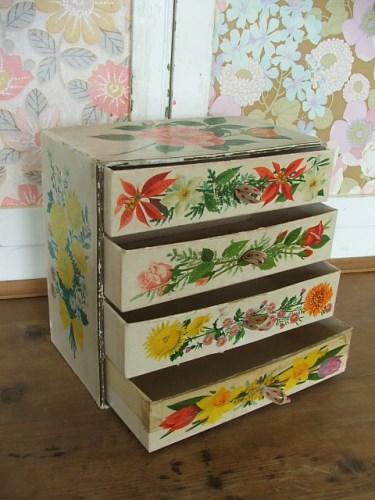 Old Floral Cardboard Drawers