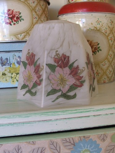 Vintage Glass Floral Lampshade
