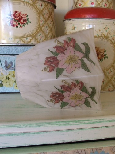 Vintage Floral Glass Lampshade