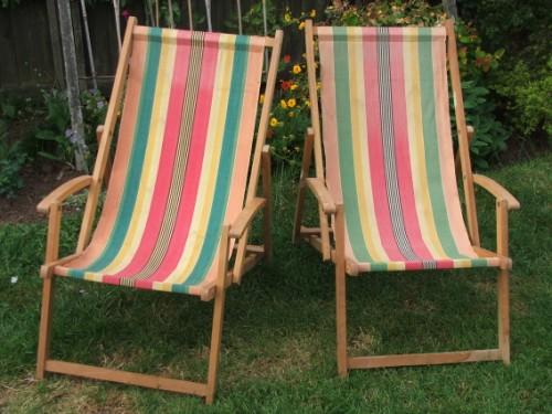 Pair of Vintage Wooden Deckchairs