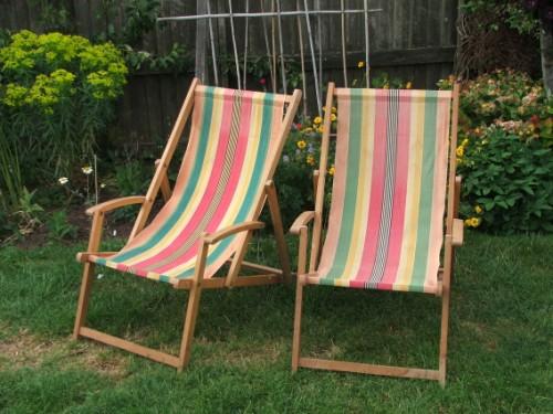 Pair of Wooden Deckchairs
