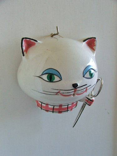 1960's Retro Ceramic Cat String Holder