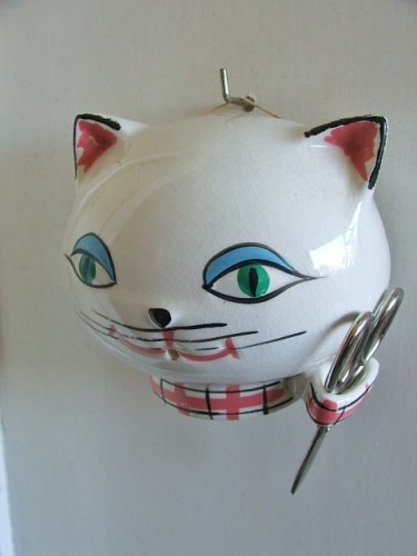 Vintage 1960's Ceramic Cat String Holder