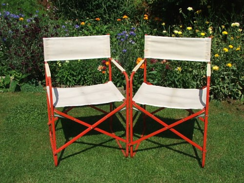 Pair of Folding Vintage Deckchairs