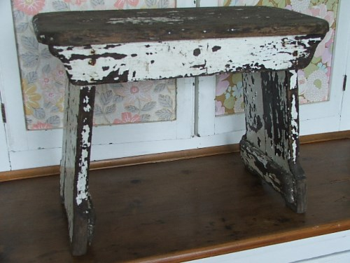 Old Rustic Painted Wooden Stool