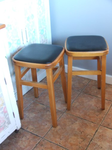 Pair Of 1960 S Wooden Kitchen Stools