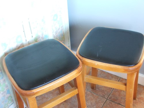 Pair of Vintage 1960's Wooden Kitchen Stools