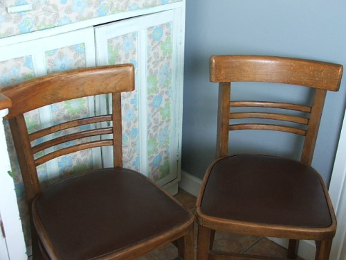 Pair of retro wooden kitchen chairs