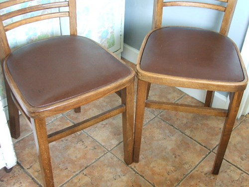 Pair of 1960's Wooden Kitchen Chairs