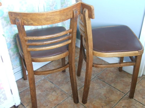 Pair of Retro Wooden Chairs
