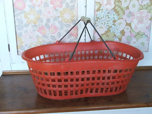 Retro Red Plastic Basket