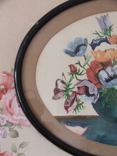 Vintage Oval Floral Watercolour Painting