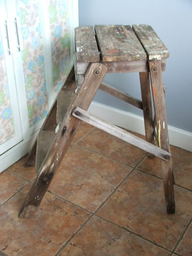 Old Wooden Folding Step Stool