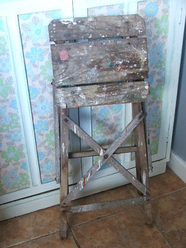 Old Folding Wooden Step Stool