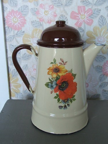 Old Enamel Coffee Pot with floral detail