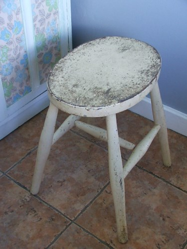 Old Painted Wooden Stool
