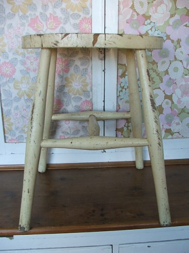 Wooden Stool with chippy paintwork