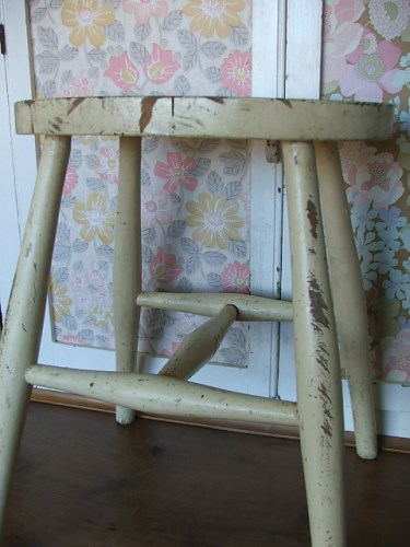 Old Wooden Stool with chippy worn paintwork