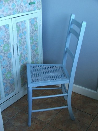 Vintage Blue Painted Wooden Chair