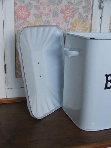 Old White Enamel Bread Bin