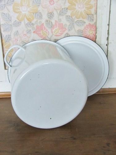 Vintage White Enamel Flour Tin