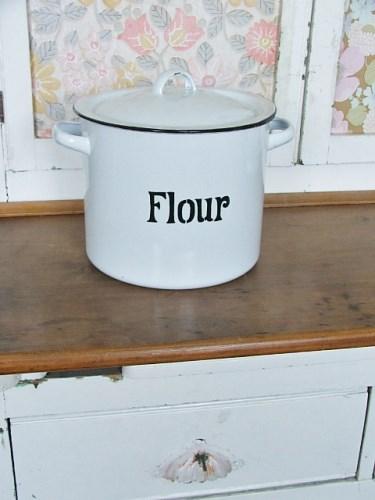Vintage White Enamel Flour Bin