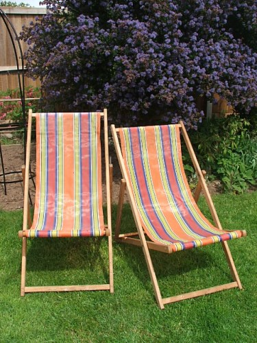 Pair of Vintage Wooden Deckchairs