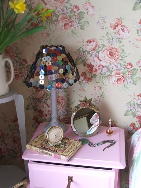Pink Wooden Bedside Table