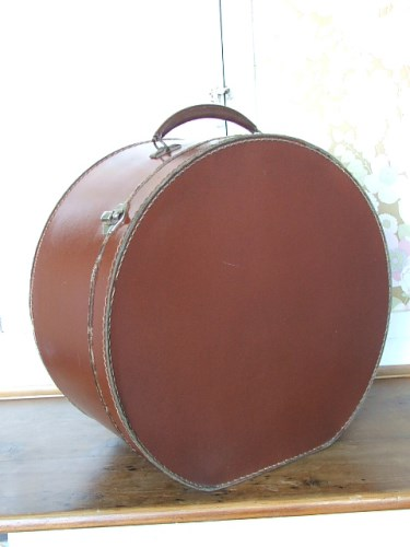 Vintage Brown Leather Hat Case