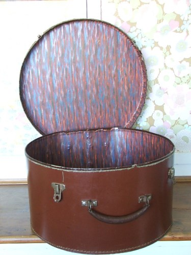 Old Brown Leather Hat Case