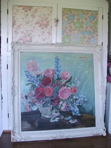 Old Vintage Floral Oil Painting