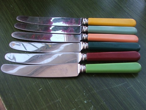 Six Multicoloured Bone Handle Knives