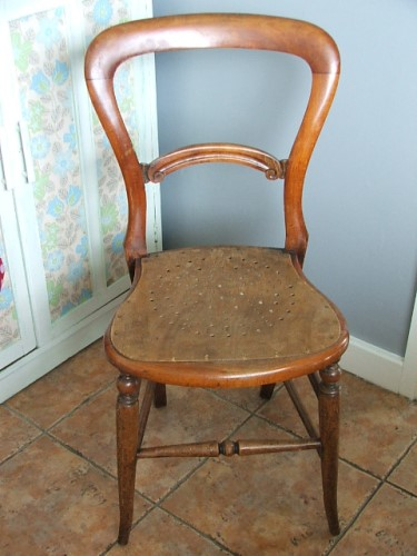 Vintage Balloon Back Wooden Chair