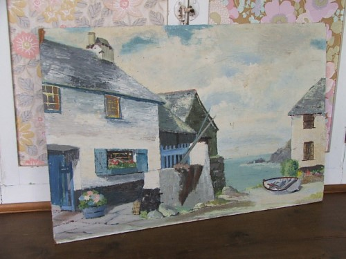 Vintage Cornish Blue Oil Painting
