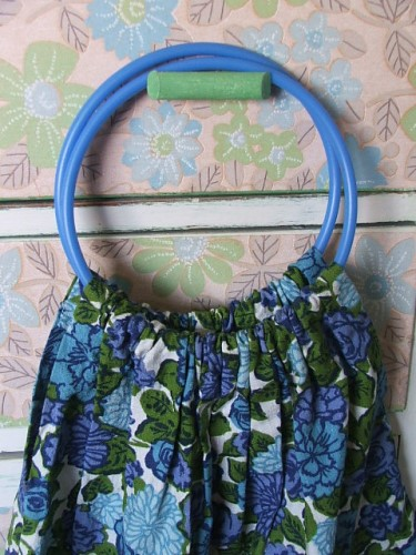 Vintage Blue Floral Fabric Bag