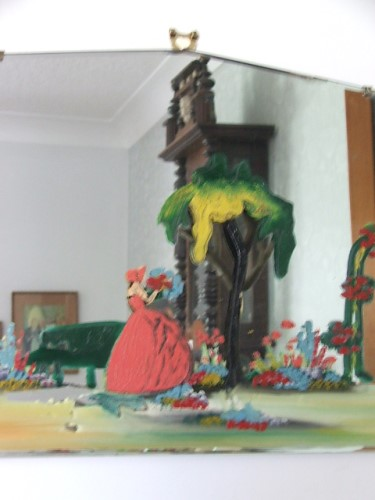 Painted Crinoline Lady Mirror