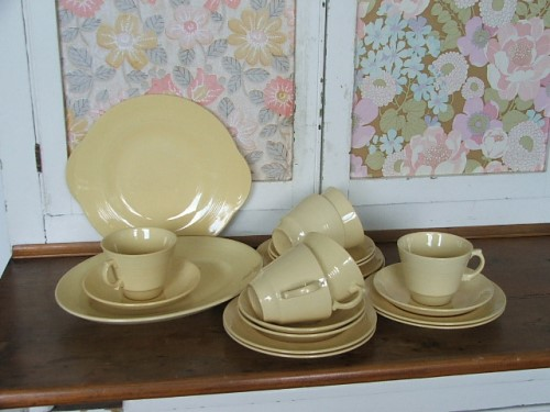 Woods Ware Jasmine Teacups Saucers and Plates