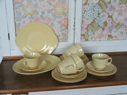Woods Ware Jasmine Teacups Saucers and Plates