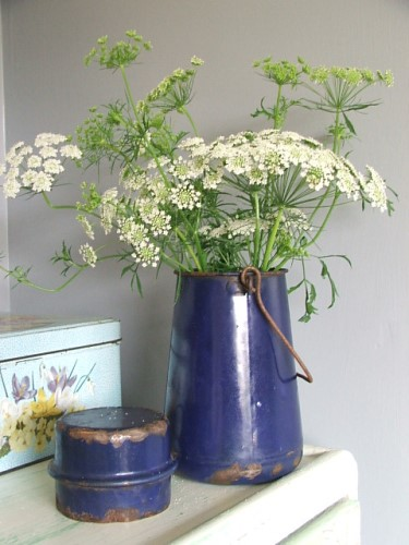 Old French Blue Enamel Milk Can with lid