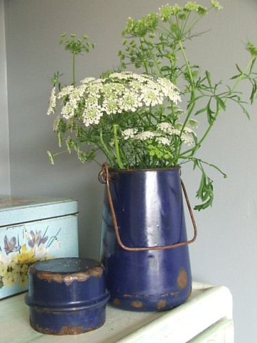 Old Enamel Milk Can with lid