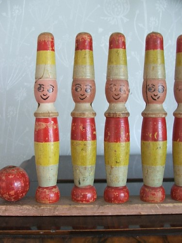 Old Wooden toy Skittles