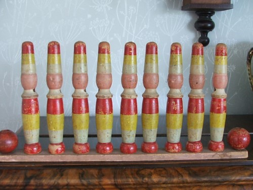 Vintage Wooden Toy Skittles