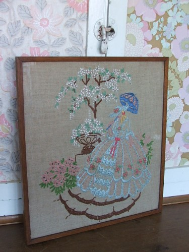Vintage Crinoline Lady Embroidery